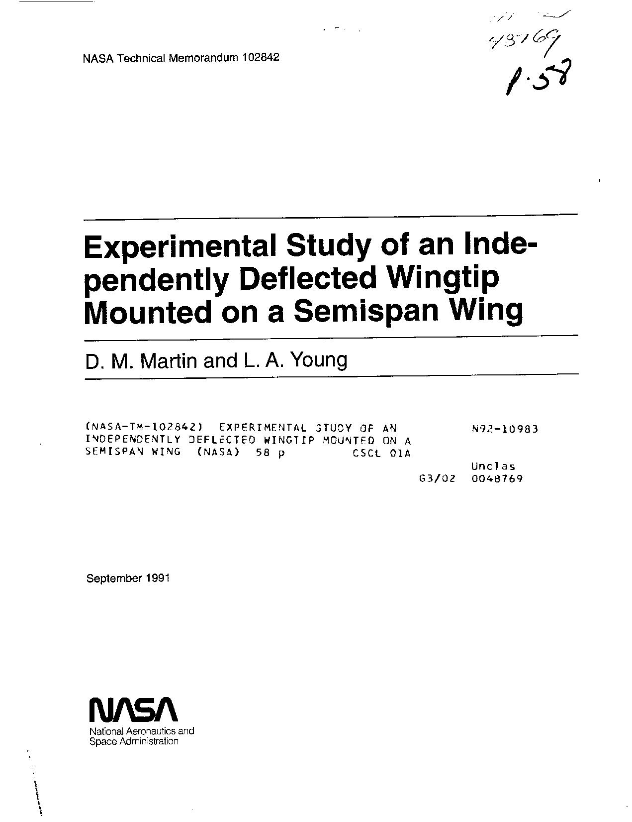 D. M. Martin - Experimental study of an independently deflected wingtip mounted on a semispan wing