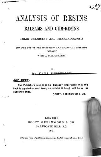 Analysis of resins, balsams and gum-resins