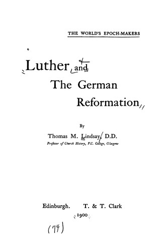 Download Luther and the German Reformation.