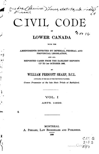 Download Civil code of Lower Canada