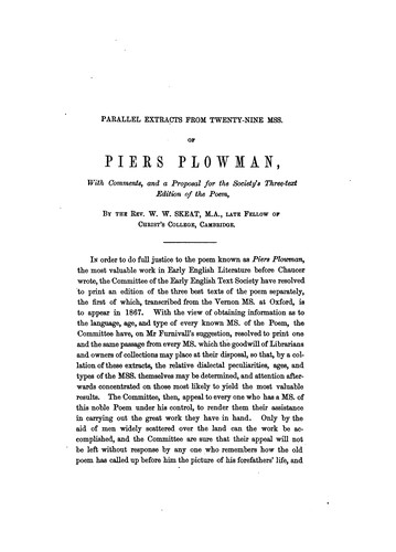 Parallel extracts from twenty-nine manuscripts of Piers Plowman
