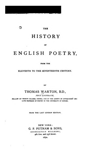 The history of English poetry by Warton, Thomas