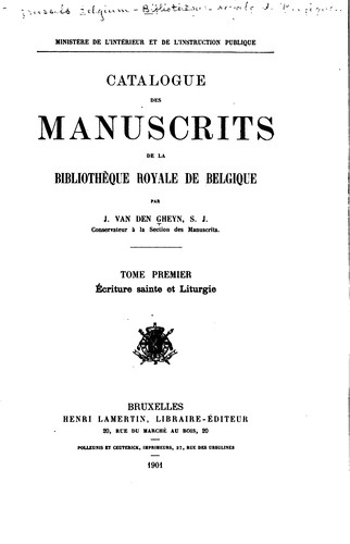 Download Catalogue des manuscrits de la Bibliothèque royale de Belgique …