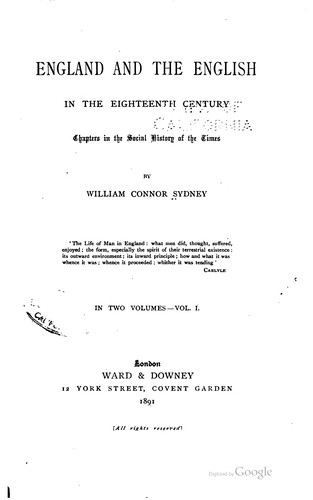 England and the English in the eighteenth century