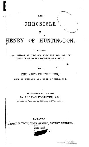 Download The chronicle of Henry of Huntingdon.