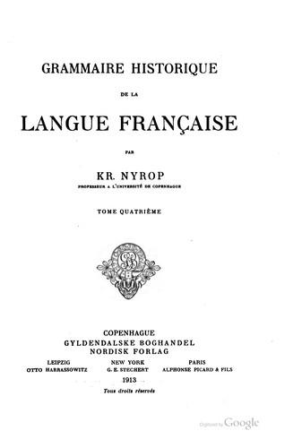 Download Grammaire historique de la langue française