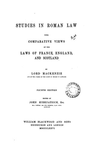 Download Studies in Roman law with comparative views of the laws of France, England, and Scotland