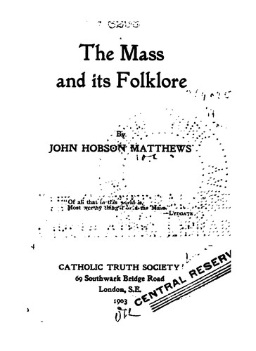 The Mass and Its Folklore