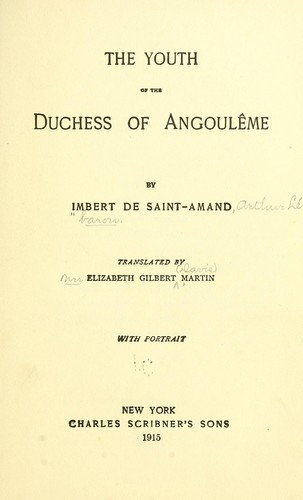 Download The youth of the Duchess of Angoulême