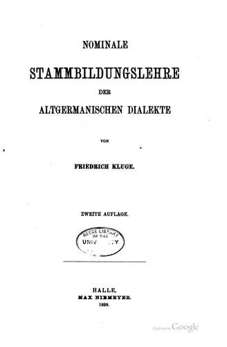 Nominale Stammbildungslehre der altgermanischen Dialekte