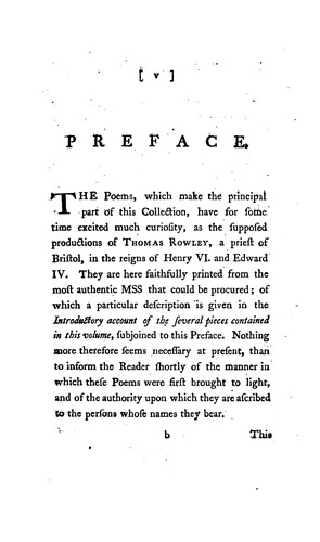 Poems supposed to have been written at Bristol by Thomas Rowley and Others in the fifteenth century