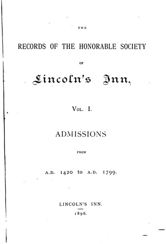 Download The Records of the Honorable Society of Lincoln's Inn.