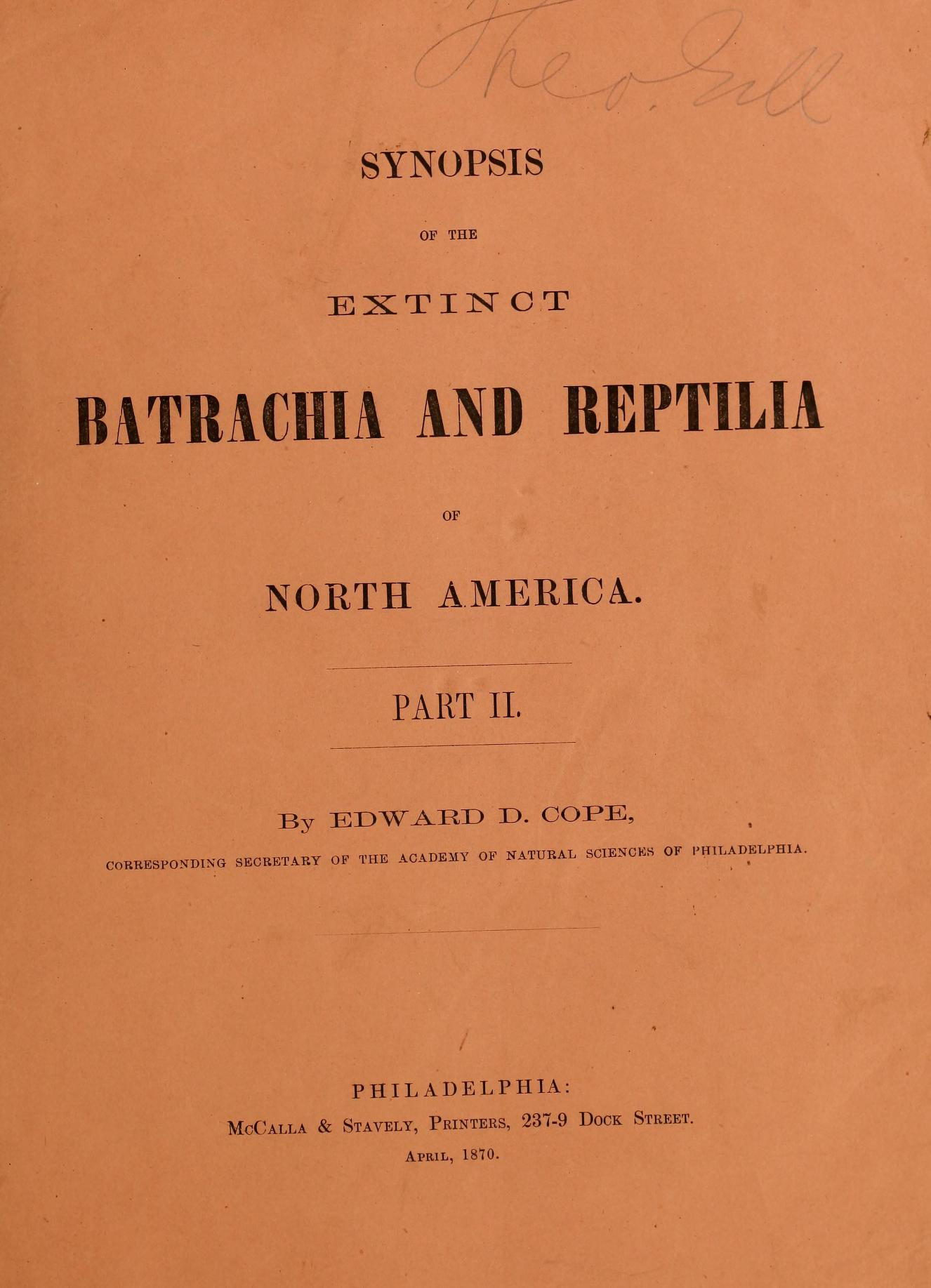 Synopsis of the Extinct Batrachia and Reptilia of North America