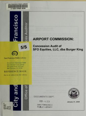Airport Commission by San Francisco (Calif.). Office of the Controller. City Services Auditor Division.