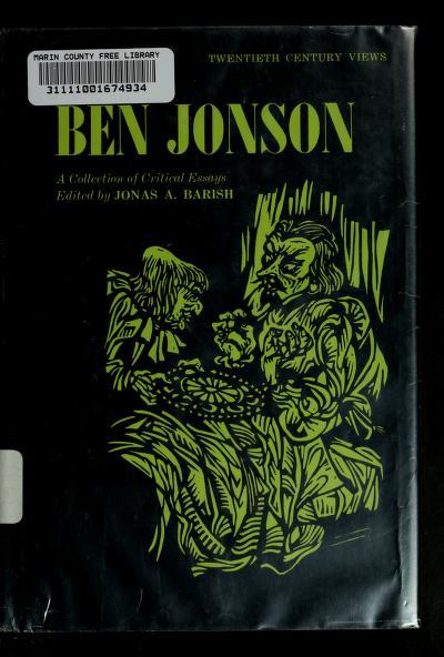 Ben Jonson by Jonas A. Barish