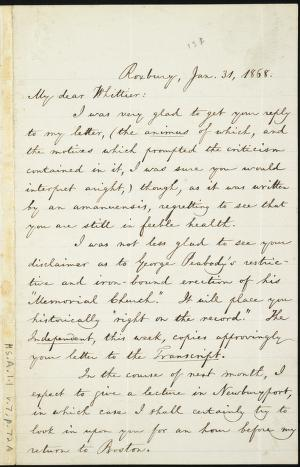 [Letter to] My dear Whittier by William Lloyd Garrison