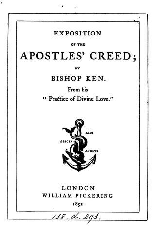 Exposition of the Apostles' Creed by Thomas Ken