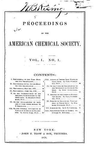 Proceedings of the American Chemical Society by American Chemical Society