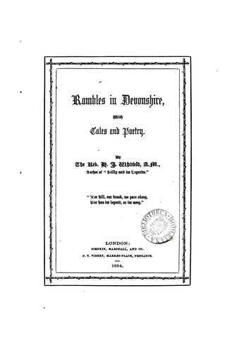Rambles in Devonshire, with tales and poetry by Henry John Whitfeld