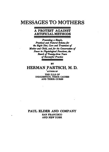 Messages to mothers by Herman Partsch