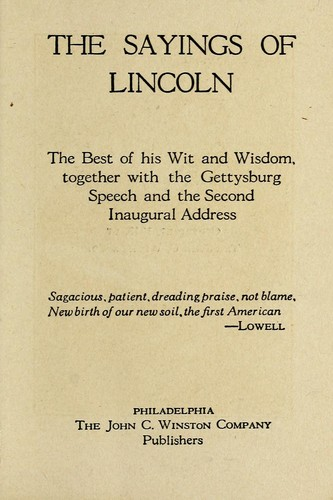 The sayings of Lincoln by Abraham Lincoln