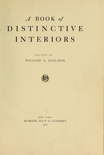 A book of distinctive interiors by William Auerbach Vollmer